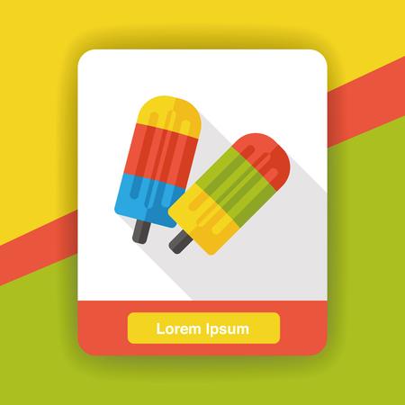 helados con palito: helado de palo icono plana Vectores