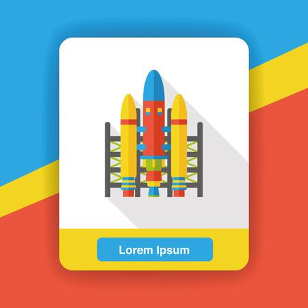 cartoon astronaut: Spaceship flat icon