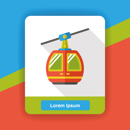 cable car: cable car flat icon Illustration