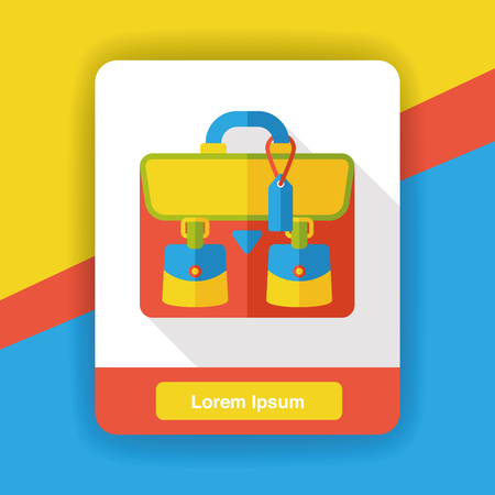 student travel: briefcase flat icon