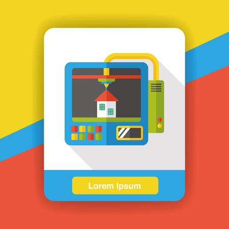 3D printer flat icon