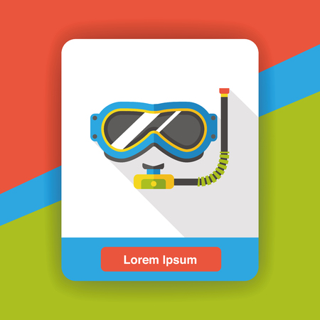 swimming goggles: Swimming Goggles flat icon Illustration