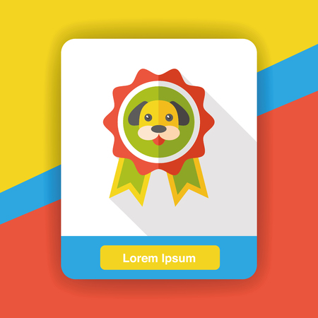 canine: pet champion medal flat icon Illustration