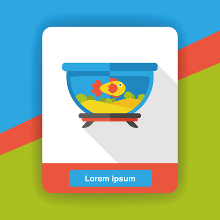 gold fish bowl: fish bowl flat icon