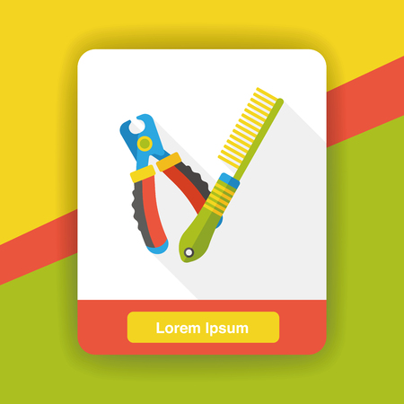 groomer: pet brush and cleaning tool flat icon