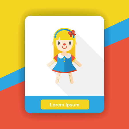 cute baby girls: doll girl flat icon