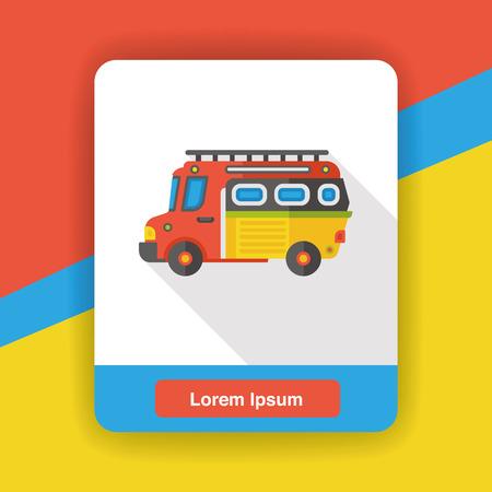 emergency engine: Transportation Fire truck flat icon Illustration
