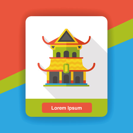 sculpture: Architectural sculpture temple flat icon Illustration
