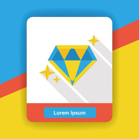 shine: diamond jewelry shine flat icon Illustration