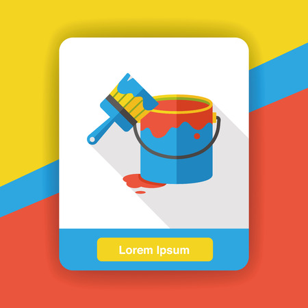pigment: Pigment paint and brush flat icon Illustration