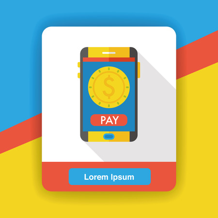 banking concept: money cellphone flat icon