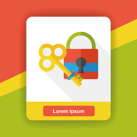 lock and key: key lock flat icon Illustration