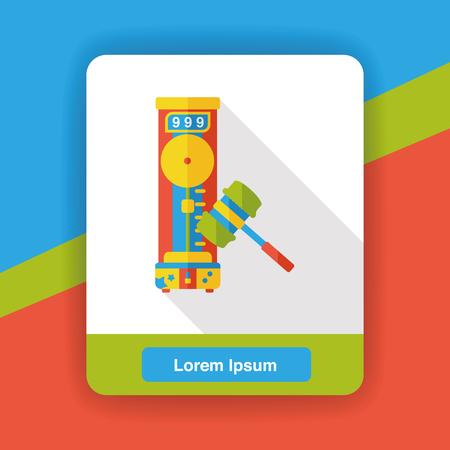 fair play: amusement park hammer game flat icon Illustration