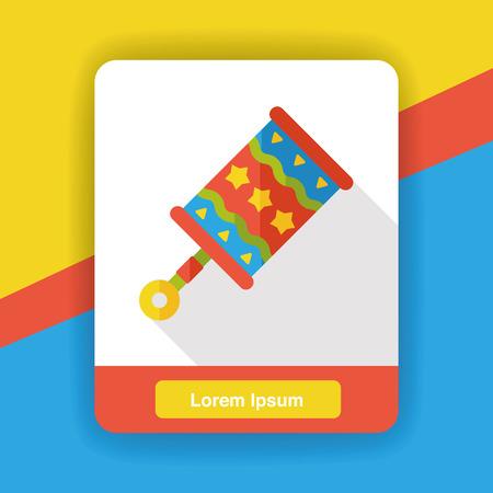 sonaja: juguete sonajero icono plana