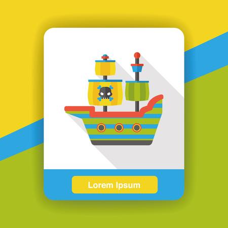 pirate skull: barco pirata icono plana
