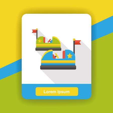 bumper: amusement park bumper cars flat icon Illustration
