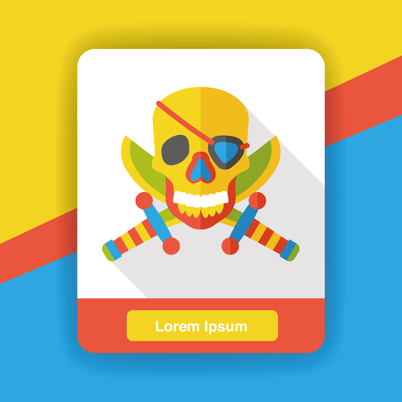 white patches: pirate skull flat icon