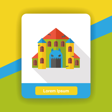 ghost house: ghost house flat icon Illustration