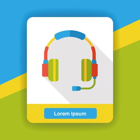 portable audio: headphone equipment flat icon
