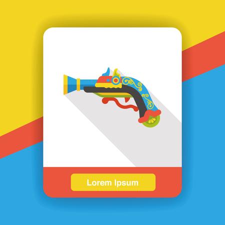 weapon: gun weapon flat icon Illustration