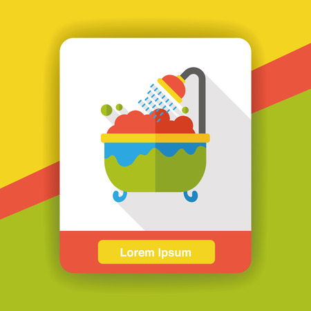 water sanitation: washing bathtub flat icon Illustration