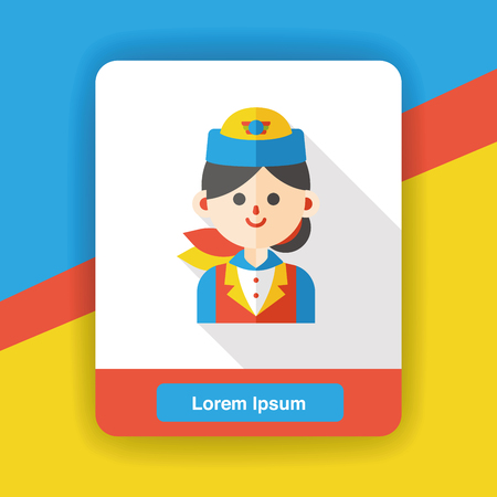 flight attendant: flight attendant occupation character flat icon