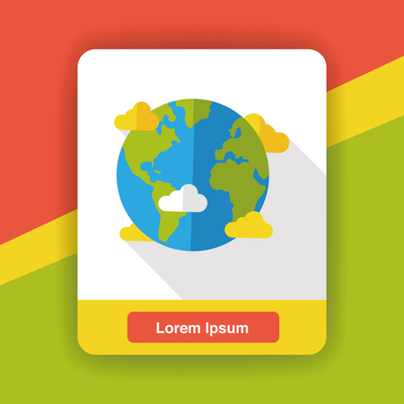 earth from space: Space planet earth flat icon Illustration