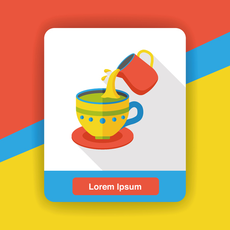 the hot: hot coffee flat icon Illustration