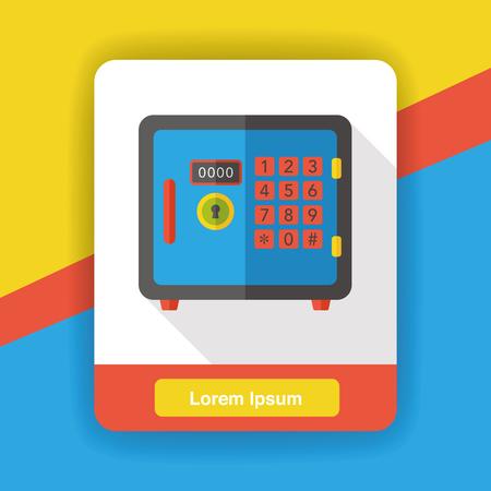 safety deposit box: Safety Deposit Box flat icon Illustration