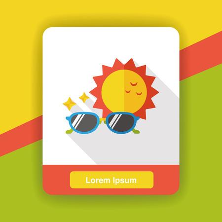 weather sunny sunglass flat icon