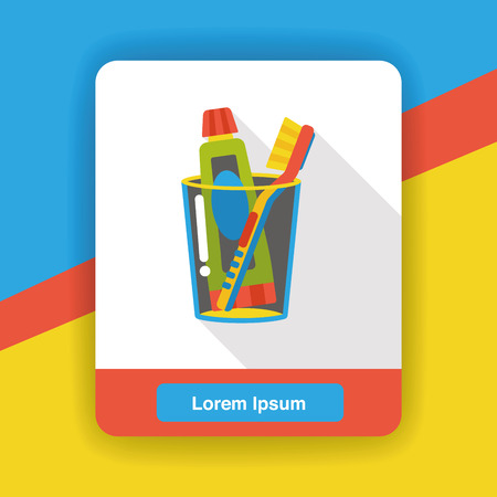 blue background: tooth paste and tooth brush flat icon Illustration
