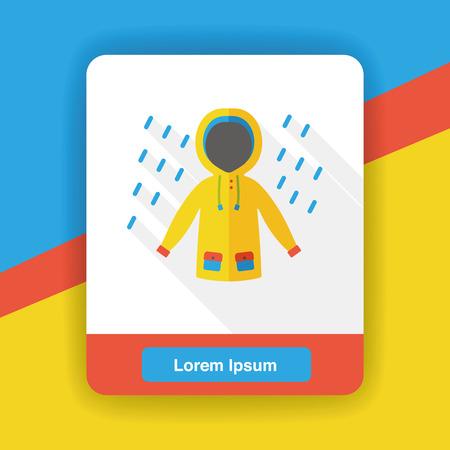 raining: weather raining raincoat flat icon