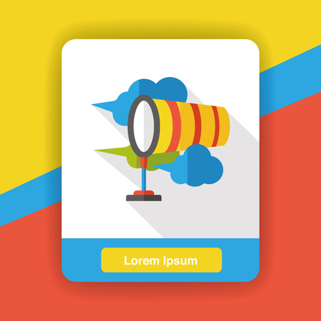 meteorological: Wind measurement flag flat icon Illustration