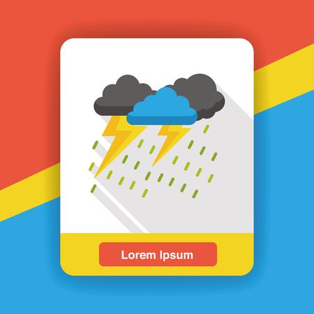 weather raining flat icon