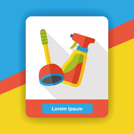 plunger: plunger and detergent flat icon