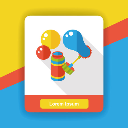 blowing: blowing bubbles flat icon Illustration