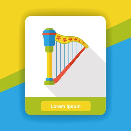the harp: arpa instrumento de música icono plana