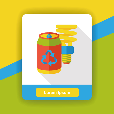 purify: recycle bottle to bulb flat icon Illustration
