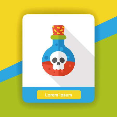 poison bottle: icono de la botella del veneno plana Vectores