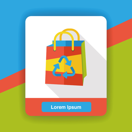 environmental protection: Environmental protection concept flat icon; Recycled shopping bag