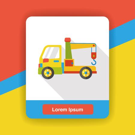 breakdown truck: Tow truck flat icon Illustration