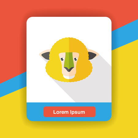 forest background: sheep zoo animal flat icon