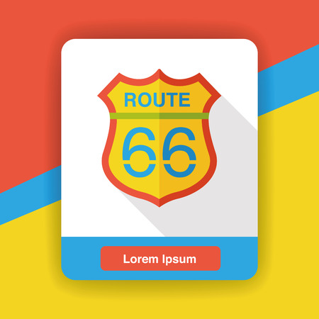 route: car route sign flat icon Illustration