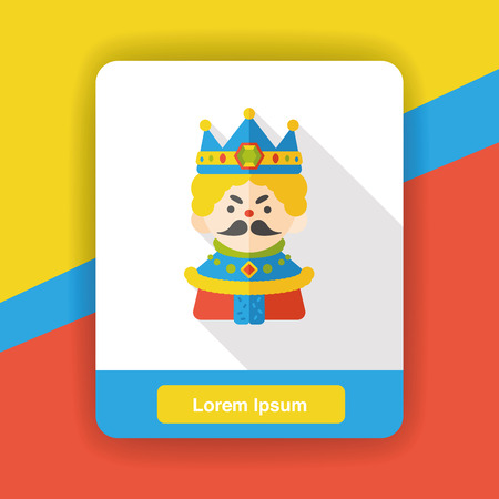 scepter: cartoon king flat icon