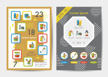 folded clothes: Cleaning icons set with long shadow,eps10 Illustration
