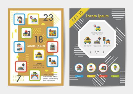 schlagbaum: Verkehr-Icons Set mit langen Schatten, eps10 Illustration