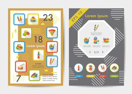 Food icons set with long shadow,eps10 Vectores