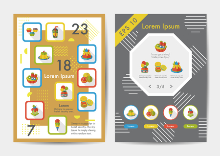 Dessert icons set with long shadow,eps10
