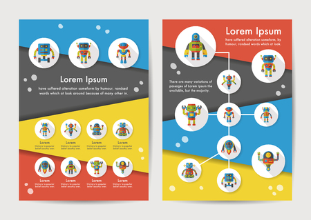 Robot icons set with long shadow,eps10 Stock Illustratie