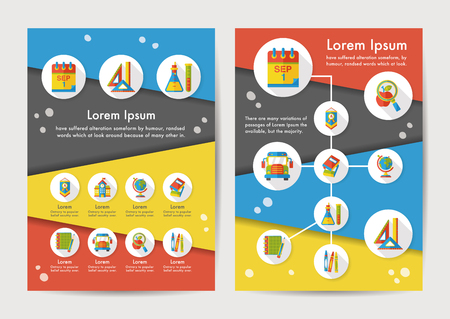 School icons set with long shadow